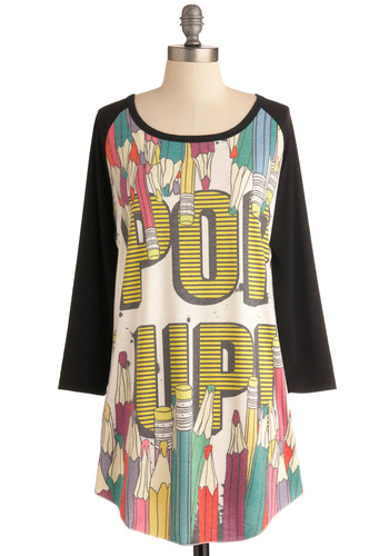 Pop of Colored Pencils Top - Long, Multi, Novelty Print, Casual, Vintage Inspired, 3/4 Sleeve, White, Black, 80s