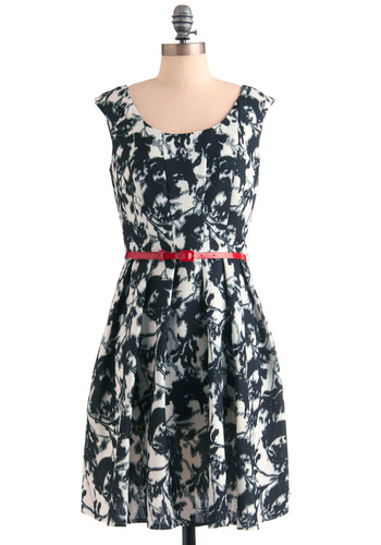 Chamber Choir Dress - Black, White, Print, Pleats, Pockets, Party, A-line, Cap Sleeves, Mid-length