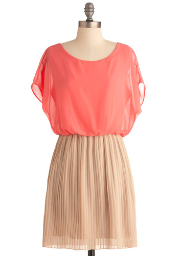 Love Me Duo Dress in Peaches and Cream - Short, Orange, Tan / Cream, Pleats, Party, Twofer, Short Sleeves, Sheer, Coral, Variation