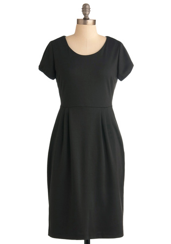 Zipping Down the Street Dress - Long, Black, Solid, Exposed zipper, Pleats, Pockets, Work, Shift, Short Sleeves