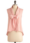 Learn to Play O-bow Top - Short, Stripes, Casual, Sleeveless, Pink, White, Nautical, Summer, Tie Neck, V Neck
