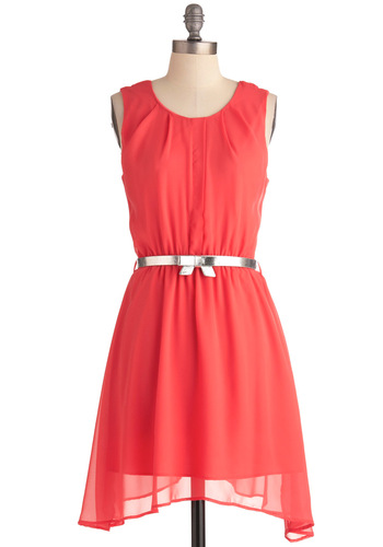 Coral Concert Dress - Mid-length, Orange, Solid, Bows, Party, Tank top (2 thick straps), Backless, Shift, Neon, Belted, Sheer, Coral