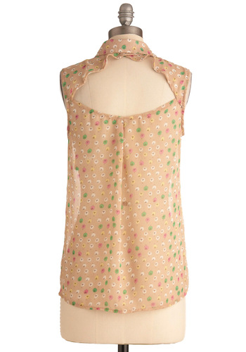Traveller's Chicks Top - Tan, Yellow, Green, Pink, White, Buttons, Pockets, Casual, Sleeveless, Cutout, Mid-length, Sheer, Button Down, Collared