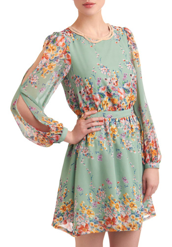 Beneath the Veranda Dress - Mid-length, Party, Floral, Cutout, Sheath / Shift, Long Sleeve, Spring, Multi, Yellow, Green, Blue, Pink, Pastel, Sheer, Mint, Daytime Party