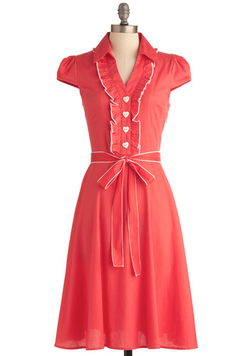 About the Artist Dress in Coral - Orange, Solid, Buttons, Ruffles, Shirt Dress, Cap Sleeves, Spring, White, Work, Vintage Inspired, 60s, Belted, Cotton, Coral, Button Down, Collared, Fit & Flare, Long