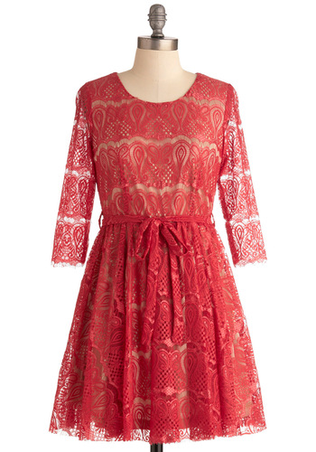 Whole Lava Love Dress - Mid-length, Red, Print, Lace, Party, Sheath / Shift, Long Sleeve