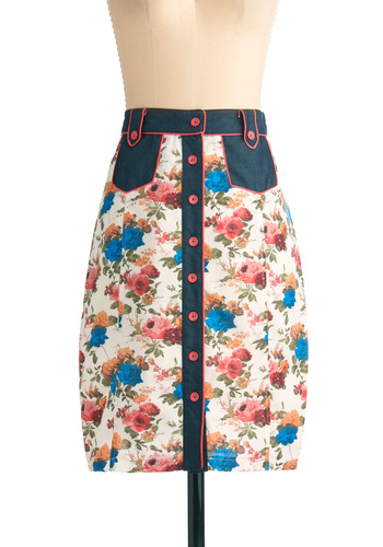 Botanical Brunch Skirt - Mid-length, Multi, Orange, Green, Blue, Floral, Buttons, Casual, Vintage Inspired, Pink, Spring