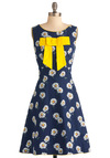 Daisy Day In Dress by Trollied Dolly - Long, Blue, Yellow, White, Floral, Bows, A-line, Spring, Sleeveless, Cotton, Fit & Flare, International Designer