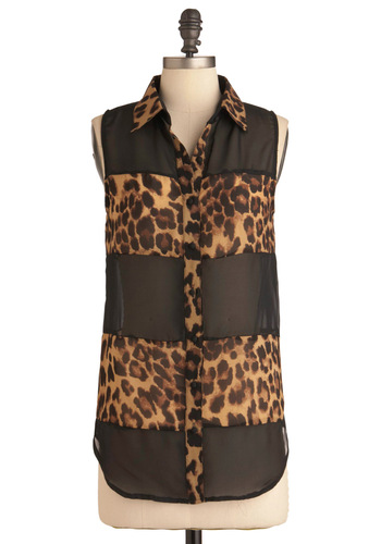Stay A-wild Top - Long, Black, Brown, Animal Print, Buttons, Casual, Sleeveless