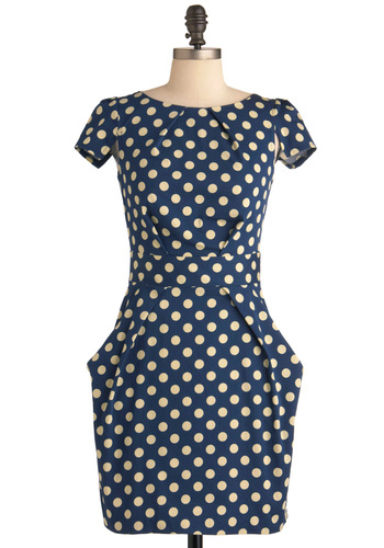 Tapioca Dokey Dress - Mid-length, Tan / Cream, Polka Dots, Exposed zipper, Pleats, Pockets, Party, Shift, Cap Sleeves, Blue, Cotton, Work