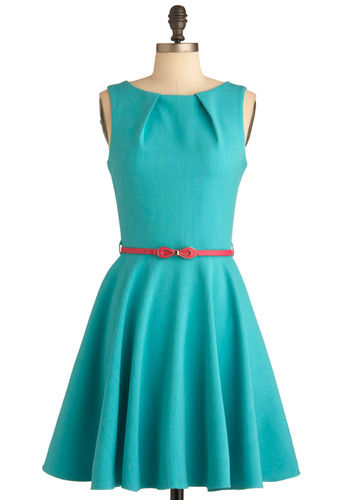Luck Be a Lady Dress in Teal - Solid, Bows, Exposed zipper, Pockets, A-line, Spring, Work, Sleeveless, Green, Belted, Cocktail, Fit & Flare, Mid-length, Variation