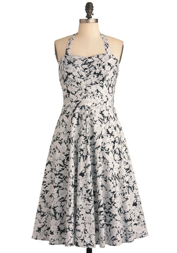 It'll Floral You Dress - Black, White, Floral, Pleats, Party, A-line, Strapless, Halter, Summer, Vintage Inspired, Cotton, Long, Fit & Flare, Sweetheart