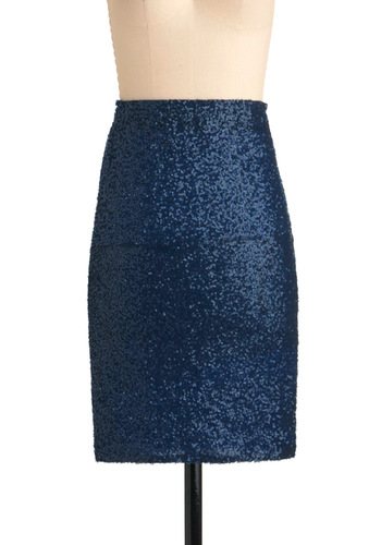 Sequin-tial Decisions Skirt - Blue, Solid, Sequins, Party, Mid-length, Girls Night Out, Cocktail, Holiday Party, Pencil, High Waist