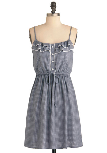 On the Double Oven Dress - Mid-length, Grey, White, Polka Dots, Buttons, Ruffles, Casual, A-line, Spaghetti Straps, Summer