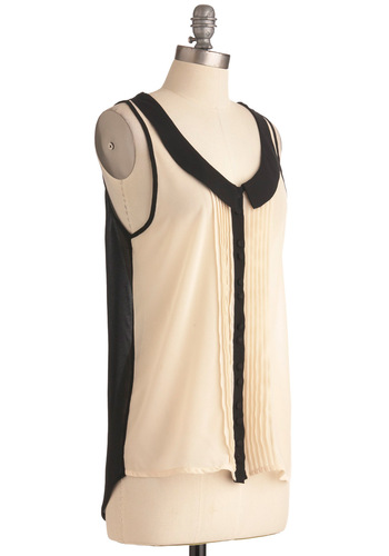 Choral Adjudication Top - Black, Buttons, Peter Pan Collar, Pleats, Casual, Sleeveless, Tan / Cream, Mid-length
