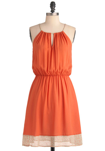 Melon Punch Dress - Long, Orange, Solid, Polka Dots, Trim, Party, Spaghetti Straps, Green, Summer