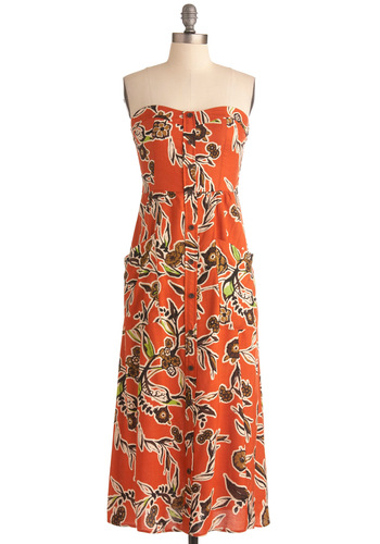 Greenhouse Guru Maxi Dress - Long, Orange, Green, Brown, Tan / Cream, Black, Floral, Buttons, Pockets, Casual, Maxi, Strapless, Multi, Summer