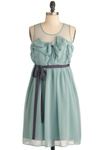 For Your Entertain-mint Dress by Ryu - Mid-length, Green, Purple, Solid, Bows, Pleats, Wedding, Party, Empire, Tank top (2 thick straps), Spring