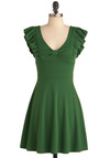 A-maizing Harvest Dress in Green - Mid-length, Green, Solid, Bows, Ruffles, Party, A-line, Cap Sleeves, Exclusives