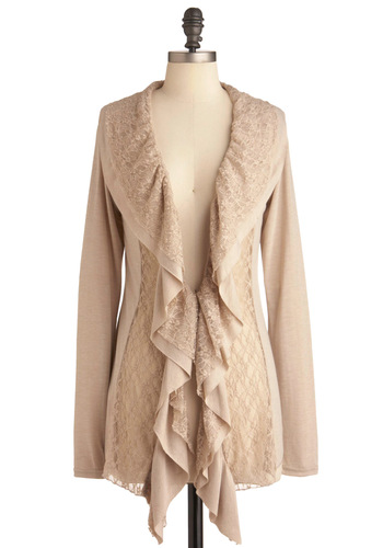 Lush with Lace Cardigan - Mid-length, Tan, Solid, Lace, Ruffles, Casual, Long Sleeve, Boho, Sheer, V Neck