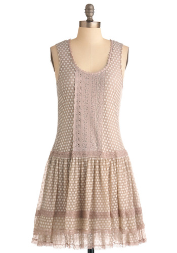 Cinema Staycation Dress - Mid-length, Tan, Polka Dots, Drop Waist, Tank top (2 thick straps), White, Lace, Casual, Pastel, 20s, Scoop, Vintage Inspired