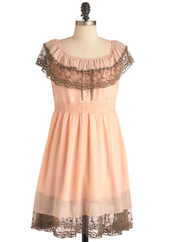 Renaissance Woman Dress - Mid-length, Orange, Solid, Buttons, Lace, Trim, Party, Empire, Cap Sleeves, Spring, Brown