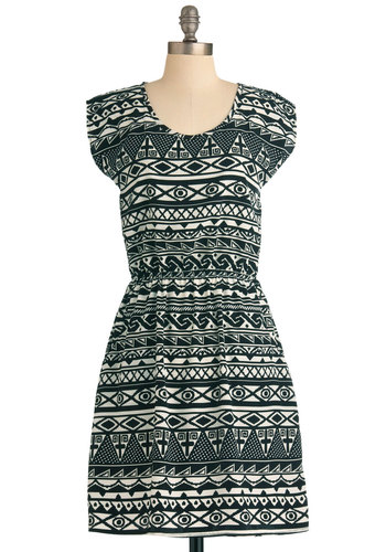 8-Bit of My Eye Dress - Mid-length, Casual, Black, White, Print, Cap Sleeves, Pockets, Sheath / Shift, Summer, Folk Art