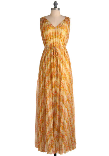 Thread Like Wildflower Dress - Long, Yellow, Orange, Green, Tan / Cream, Floral, Pleats, Party, Maxi, Boho, Tent / Trapeze, Sleeveless