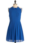Pandemonium in Blue Dress - Mid-length, Blue, Solid, Buttons, Peter Pan Collar, Pleats, Pockets, Party, A-line, Sleeveless, White, Vintage Inspired