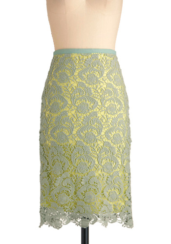 Mysteries of the Sea Skirt - Long, Green, Lace, Work, Vintage Inspired, Floral, Spring