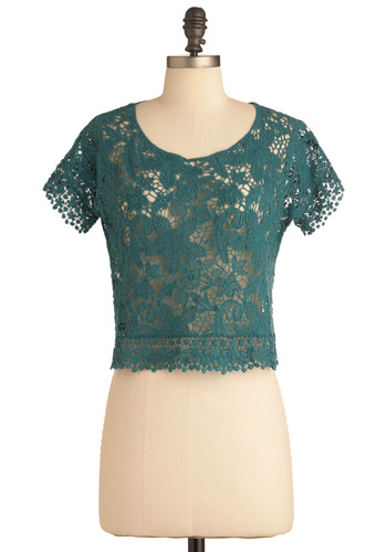Lace Work It Out Top - Short, Green, Lace, Short Sleeves, Floral