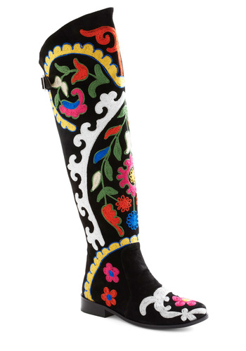 Out for Adventure Boot - Black, Multi, Embroidery, Folk Art, Exclusives, International Designer