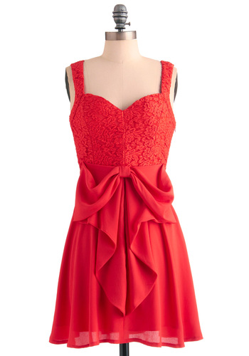 What a Way to Bow Dress - Short, Red, Solid, Bows, Party, Empire, Tank top (2 thick straps), Backless, Lace