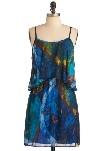 Painted Leaves Dress - Mid-length, Blue, Print, Spaghetti Straps, Multi, Yellow, Green, Brown, Backless, Ruffles, Party, Shift, Summer, Sheer, Beach/Resort