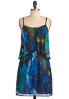 Painted Leaves Dress - Mid-length, Blue, Print, Spaghetti Straps, Multi, Yellow, Green, Brown, Backless, Ruffles, Party, Sheath / Shift, Summer, Sheer, Beach/Resort