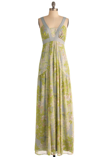Garden Party Goddess Dress - Pockets, Wedding, Party, Spaghetti Straps, Green, Grey, Floral, Maxi, Long, Cocktail, Daytime Party, Beach/Resort