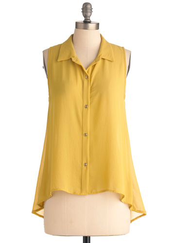 Collar ID Top - Mid-length, Yellow, Solid, Buttons, Casual, Sleeveless