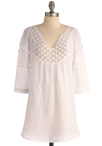 Houseboat Tunic in White - Long, White, Solid, 3/4 Sleeve, Lace, Casual, Summer, Cotton, White, 3/4 Sleeve, Boho, Festival, Spring, Lace, Beach/Resort, Cover-up