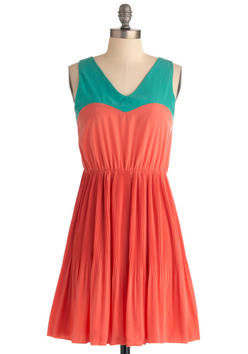 Me, You, and Malibu Dress in Coral - Mid-length, Orange, Green, Pleats, A-line, Casual, Sleeveless, Summer