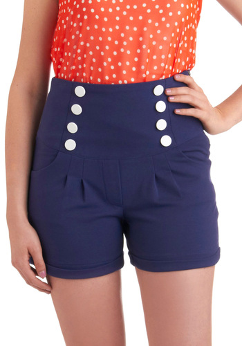 Upon the High Seas Shorts by Bettie Page - Blue, White, Solid, Buttons, Pockets, Casual, Nautical, Rockabilly, Pinup