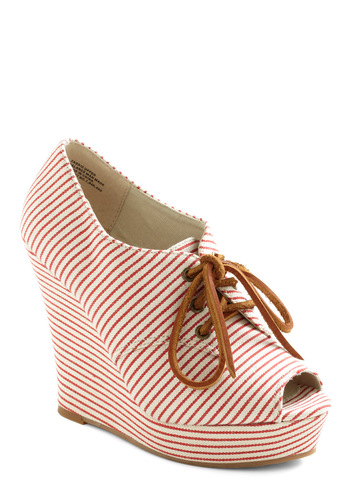 Summer Birthday Wedge by BC Shoes - Tan / Cream, Stripes, Nautical, Spring, Red, Wedge, Platform, Lace Up, Peep Toe, High