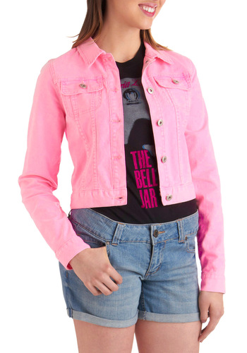 In a Good Highlight Jacket in Pink - Short, Casual, Vintage Inspired, 80s, Statement, Pink, Solid, Pockets, Long Sleeve, 2