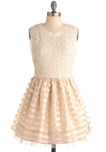 Laced Night Dress - Short, Cream, Stripes, Floral, Crochet, Wedding, Party, A-line, Tank top (2 thick straps)