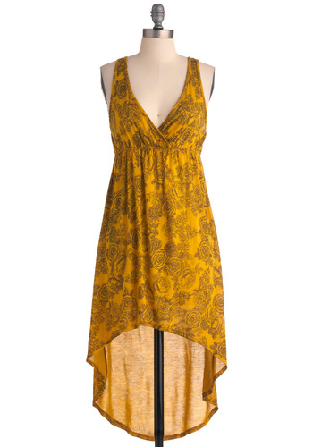 Middle of the Rose Dress - Short, Yellow, Black, Floral, Casual, Empire, Tank top (2 thick straps), Boho, Summer
