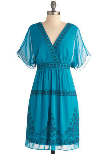 Musician Meet Up Dress by Max and Cleo - Mid-length, Blue, Print, Party, Empire, Short Sleeves, Boho