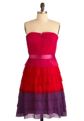 Sunset on the Shore Dress by Max and Cleo - Red, Purple, Pink, Pleats, Party, A-line, Strapless, Tiered, Special Occasion, Long, Cocktail, Fit & Flare, Ruching