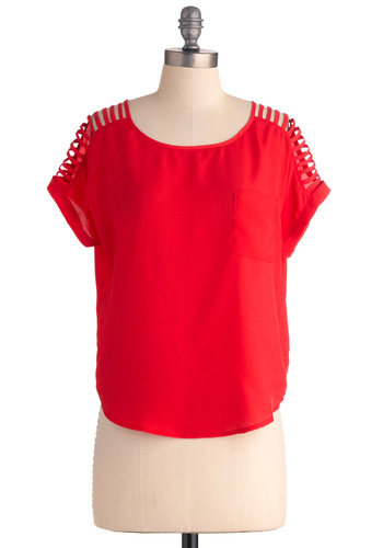 Atomic Number Fifteen Top - Short, Red, Solid, Cutout, Casual, Short Sleeves, Girls Night Out