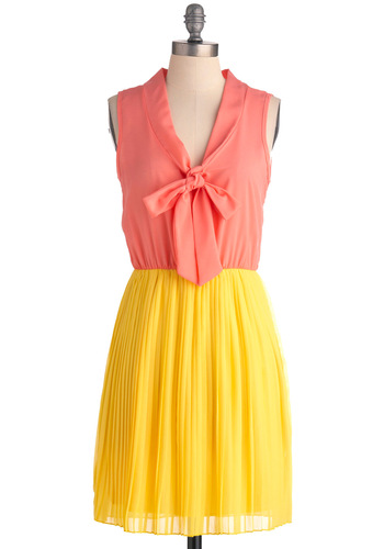 HOLD VP/DELETE? Best of Bologna Dress - Mid-length, Yellow, Pink, Pleats, Party, A-line, Sleeveless, Spring