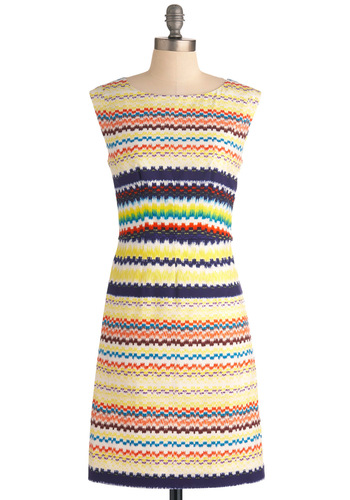 Plenty by Tracy Reese Once and Mural Dress by Plenty by Tracy Reese - Mid-length, Multi, Stripes, Work, Shift, Sleeveless, Multi, Summer