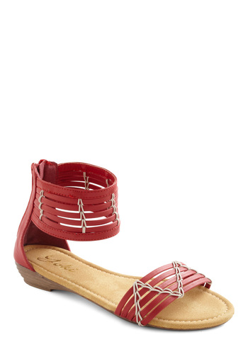 Indie Music Sandal - Red, Casual, Summer, Boho